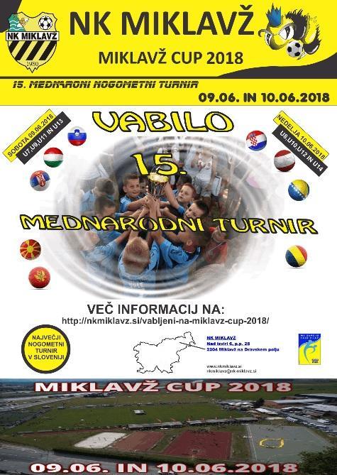 15. Mednarodni nogometni turnir mlajših selekcij MIKLAVŽ CUP 2018